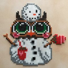 Snowman owl hama perler beads by Hamadeco