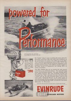 "1953 EVINRUDE ""BIG TWIN"" 25 HP OUTBOARD MOTOR AD - SLASHING SPEED!"