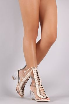 Lucite Combat Lace Up Chunky Heeled Ankle Boots
