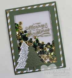 How to create a christmas tree shaker card featuring the Peaceful Pines stamp set. Wendy Cranford www.luvinstampin.com: