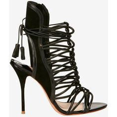 Sophia Webster Strappy Cage Suede Sandal: Black ($695) ❤ liked on Polyvore featuring shoes, sandals, black, black strappy sandals, strap sandals, high heel sandals, high heel shoes and lace up sandals