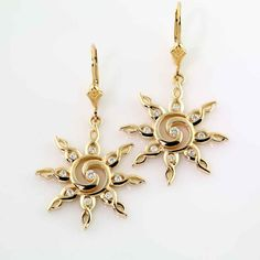 Sun Earrings - Diamond Spiral - Sun Jewelry By Baytowne Jewelers, Destin FL