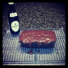 I made this yesterday -- used 1.5 cups of sugar instead of 2, and frosted it with Bailey's cream cheese frosting.  Delicious!  Click through for this Guinness Chocolate Cake recipe - just in time for St. Patrick's Day <3