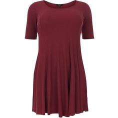 Plus Size Burgundy Ribbed Skater Dress ($28) ❤ liked on Polyvore featuring burgundy