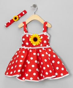 Take a look at this Red Polka Dot Sunflower Dress & Headband - Infant & Toddler by Shanil on #zulily today!