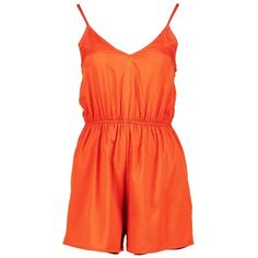 Boohoo Inga Lace Up Back Strappy Playsuit | Boohoo ($10) ❤ liked on Polyvore featuring jumpsuits, rompers, playsuit romper and orange romper