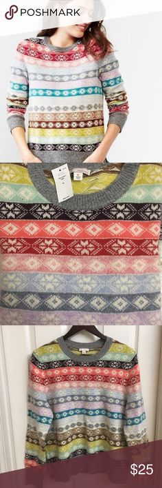 GAP NWT Fair Isle Nordic Stripe Sweater GAP NWT Fair Isle Nordic stripe crew neck sweater with side slit hem and finely rubbed throughout.  Fits true-to-size and made of 55% lambs wool & 45% nylon.  I ordered it online and has all its tags - I've never worn it. GAP Sweaters Crew & Scoop Necks