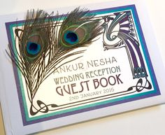 Art Nouveau Guest Book with Peacock Feather in Teal & Purple