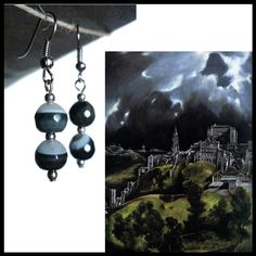 #ArtPassionBijoux by Sara, #italian #handmade #jewelry inspired by #art - #ELGRECO inspiring - Grey and black #agate #earrings