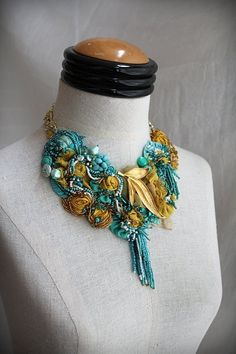 Items similar to DOROTHY Turquoise and Gold Mixed Media Statement Necklace on Etsy Jewelry Art, Unique Jewelry, Vintage Jewelry, Jewellery, Shabby Flowers, Fabric Flowers, Fabric Flower Necklace, Gold Silk, Family Jewels