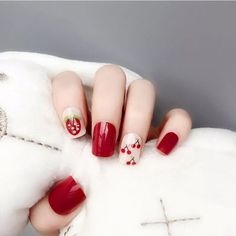 Excited to share this item from my #etsy shop: 24Pcs Strawberry Cherry Fake Nails Art Tips Nail False Full Cover Manicure Decor Dark Purple Nails, Burgundy Nails, White Nails, Nude Nails, Pink Nails, Acrylic Nails, Short Red Nails, Fruit Nail Art, Bridal Nail Art