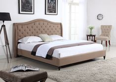 """Home Life Cloth Light Brown Linen Curved Hand Diamond Tufted and Nailed Headboard 53"""" Tall Headboard Platform Bed with Slats King - Complete Bed 5 Year Warranty Included 013"""