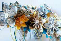 Petit Paper Bouquet Wedding Centerpieces- Set of 10, handmade, made to order, Roald Dahl, origami