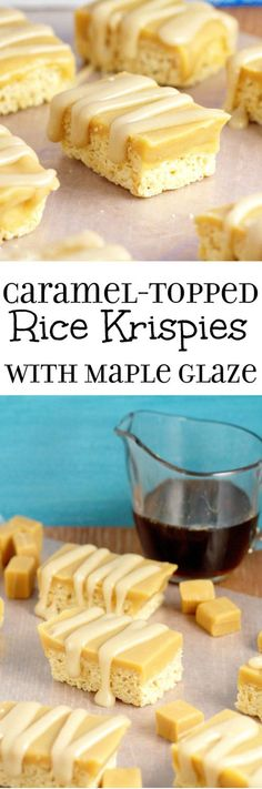 Caramel Topped Rice Krispies with Maple Glaze- Rice Krispies treats topped with caramel and a simple maple glaze. Such an easy dessert recipe but sooo good. | easy dessert recipe | no bake dessert recipe