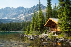With the Rocky Mountains and shores of Lake O'Hara literally at your doorstep these cozy one bedroom cabins are the definition of a mountain retreat. Lake Cabins, Cabins And Cottages, Mountain Cabins, Tiny House Cabin, Cabin Homes, Tiny Homes, Lac Canada, Ideas De Cabina, Haus Am See