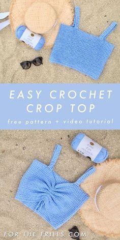 Easy Crochet Crop Top 3 different ways – Free Crochet Pattern + Video Tutorial. - Easy Crochet Crop Top 3 different ways – Free Crochet Pattern + Video Tutorial – forthefrills # - Crochet Simple, Crochet Diy, Crochet Woman, Diy Crochet Bralette, Easy Things To Crochet, Crochet Ideas, Easy Crochet Socks, Easy Crochet Headbands, Crochet Wall Art