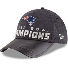 030af1cf759 Youth New England Patriots New Era Heathered Black Super Bowl LI Champions  Trophy Collection Locker Room 9FORTY Adjustable Hat
