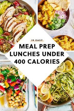 400 calorie meals Kick that sad salad to the curb with these easy meal prep lunches. Theyre just as healthy, only they wont wilt in the fridgeand we guarantee youll look forward to de Easy Meal Prep Lunches, Low Calorie Lunches, Low Calorie Dinners, Prepped Lunches, No Calorie Foods, Healthy Meal Prep, Low Calorie Recipes, Healthy Dinner Recipes, Easy Meals