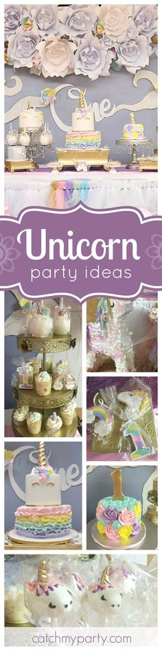 Check out this gorgeous Unicorn 1st Birthday Party! The many birthday cakes are all just so beautiful! See more party ideas and share yours at http://CatchMyParty.com