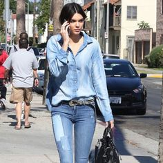 How to do double denim the @kendalljenner way—shop the link in our bio for our favorite patchwork pairings  #Padgram