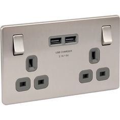 Screwless Flat Brushed Steel 13A DP USB Switch Socket 2 Gang. 2 x USB 2.1A ports