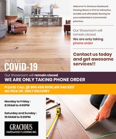 Welcome to Gracious Inc. one of the best located @ 72 Devon Rd, Unit 12 But Due to the Situation, Our showroom will remain closed. We are taking phone orders only. Phone: Timings: Monday to Friday: a. Saturday & Sunday: a. Flooring Store, Laminate Flooring, Hardwood Floors, Wood Store, Saturday Sunday, Devon, Ontario, Showroom, Tile Floor