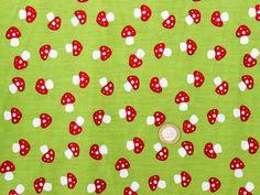 Stoff Pilze - Stoff Baumwolle grün Pilze - ein Designerstück von Tanja-Doeffinger bei DaWanda