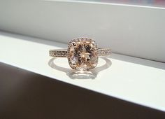 Halo Morganite Diamond Ring Gemstone Engagement por PenelliBelle,