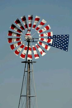 Windmill in red, white and blue I Love America, God Bless America, American Pride, American Flag, American Freedom, American Spirit, Old Windmills, Let Freedom Ring, Home Of The Brave