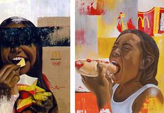These two paintings have paint smeared across them using the flat edge of a piece of card, with a MacDonald's fries packet featuring prominently in the background.