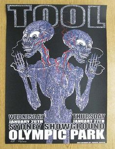 Original silkscreen concert poster for Tool at the Sydney Showgrounds in Sydney, AUS in x inches. Numbered as an AP out of only 100 by the artist Adam Jones. Rock Posters, Buy Posters, Concert Posters, Music Posters, Tool Poster, Gig Poster, Rhys Cooper, Hipster Decor, Big Day Out