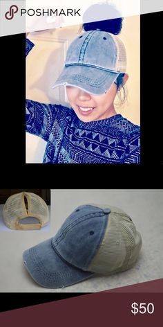 NEW GLAMOUR PONYTAIL MESSY BUN TRUCKERS CAP HAT NEW GLAMOROUS PONYTAIL TOP KNOT MESSY BUN BLUE DENIM WASH COLOR TRUCKER MESH CAP HAT WITH ADJUSTABLE BACK (1) IN STOCK 👱🏻‍♀️👑 Accessories Hats