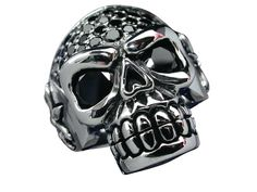 Sterling Silver 26mm Black Cubic Zirconia Skull Ring Mixed Sizes Butterfly Jewelry, Stainless Steel Jewelry, Size Chart, Silver Jewelry, Skull, Jewellery, Sterling Silver, Rings, Men