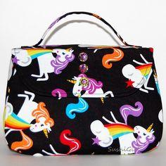 Unicorns and Rainbows Handbag - Barfing Unicorns, Unicorn Purse, Fantasy Creatures, Retro Purse, Teen Gift Idea, Boxy Bag, Prom Handbag by SushiGirl on Etsy