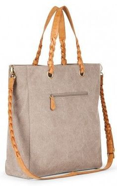 Grey canvas tote bag with braided shoulder straps ==