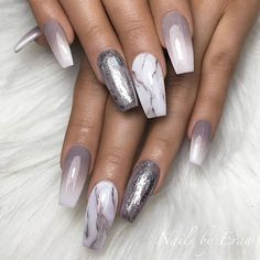 REPOST - - - - Grey to White Ombre Silver Foil on Grey and White Marble on Coffin Nails - - - - Picture and Nail Design by misslarge her for more gorgeous nail art designs! Coffin Nails Long, Long Acrylic Nails, Foil Nails, Glitter Nails, Glitter Eyeshadow, Foil Nail Art, Glitter Wine, Glitter Makeup, Stiletto Nails
