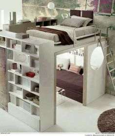 I love how this room gives the feel of a bunk bed, however it is a whole double bed on another level. Only thing is, not sure about the colour scheme...