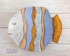 Large ceramic plate, handmade ceramic bowl, handmade pottery, fish, d . Ceramic Plates, Decorative Plates, Ceramic Pottery, Handmade Pottery, Handmade Ceramic, Cerámica Ideas, Clay Fish, Fish Wall Decor, Fish Plate