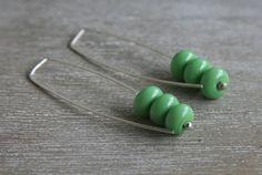 Long Green Earrings.  Classic, Everyday, Handmade Glass Beads