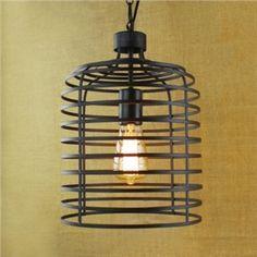 (EU Lager)Vintage Pendelleuchte Gitter Design Schwarz 1-Flammig