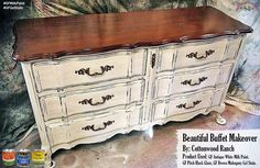 Cottonwood Ranch Painted Vintage Furniture, https://www.facebook.com/CottonwoodRanchPaintedFurniture, gave this buffet a makeover with General Finishes Antique White Milk Paint glazed with GF Pitch Black Glaze Effects.  The top was finished with GF's Brown Mahogany Gel Stain.  You can find your favorite GF products at Woodcraft, Rockler Woodworking stores or Wood Essence in Canada. You can also use your zip code to find a retailer near you at…