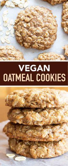 Simple & Easy Vegan Oatmeal Cookies - Beaming Baker Clean Oatmeal Cookies, Oatmeal Dessert, Oatmeal Breakfast Cookies, Oatmeal Cookie Recipes, Oatmeal Cookies Gluten Free, Simple Vegan Cookie Recipe, Vegan Oat Cookies, Vegan Cake, Vegan Treats