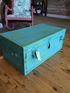 """""""Katie"""" old trunk painted in Cece Caldwell's spring hill green, and destin gulf green!"""