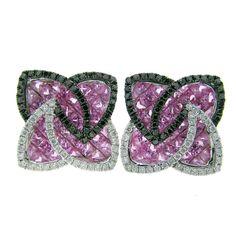 Pink Sapphire Black and White Diamond Pinwheel Design Earrings   1stdibs.com