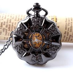 Black Full Steel Luminous Mechanical Pocket Watch Steampunk Vintage Hollow Analog Skeleton Hand Winding Mechanical Pocket Watch - Online Shopping for Watches Skeleton Pocket Watch, Steampunk Pocket Watch, Mechanical Pocket Watch, Skeleton Watches, Mechanical Hand, Steampunk Accessoires, Skeleton Hands, Steampunk Fashion, Larp