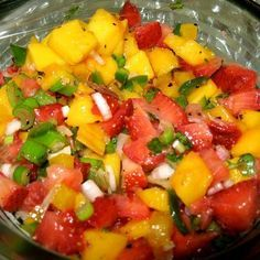 Strawberry and Mango Salsa - on top of grilled chicken with a side of grilled veggies. Chop up some mango, strawberries, onion, tomatoes, and fresh cilantro,.