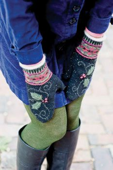 Holly-Poinsettia-Mittens-2 by sundayknits, via Flickr