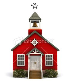 Red Schoolhouse Facade Royalty Free Stock Photo