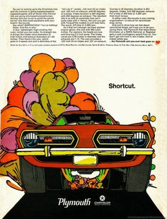 "barracuda flyer, part of Plymouth's ""mod"" ad campaign. Very cool, and if you read the fine print here, you'll see that for the princely sum of $1.00, you could have written away to receive a color wall poster of this ad. Wonder what the same piece of automobilia would fetch today!!"