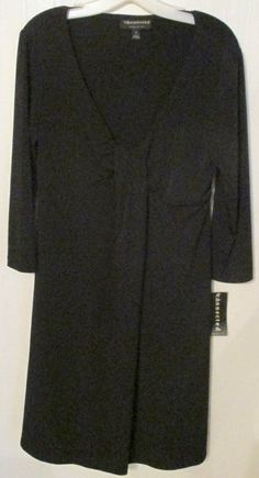 6e76bc83f4 Connected Apparel Womens Black Dress 3 4 Sleeves Plunge Neckline New with  Tags  Connected